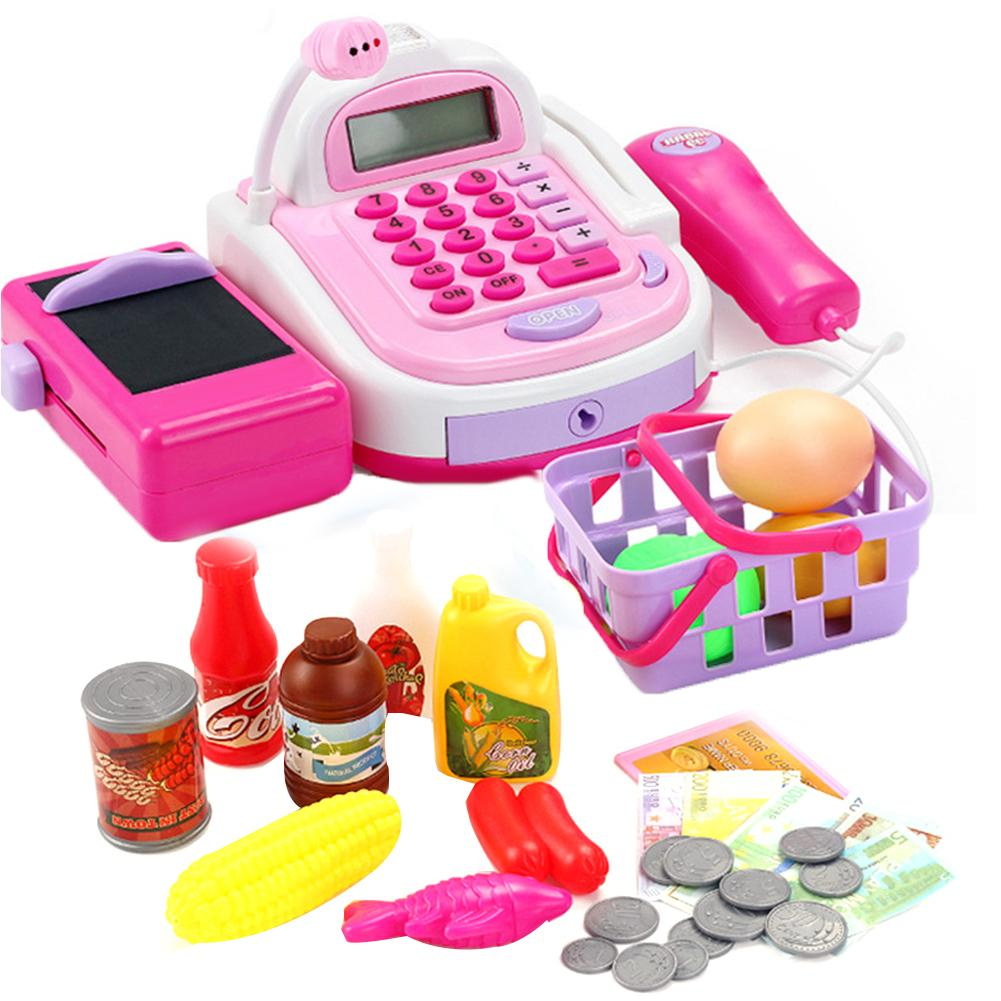 Simulation Market Cash Register Food Set With Sound Light Kids Pretend Play Toy Children Multi-function Logical Thinking