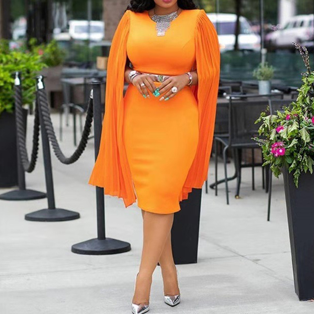 Orange Elegant Cocktail Dress Scoop Neck Mermaid Knee Length Long Sleeves High Waist Night Club Evening Party Cocktail Dresses