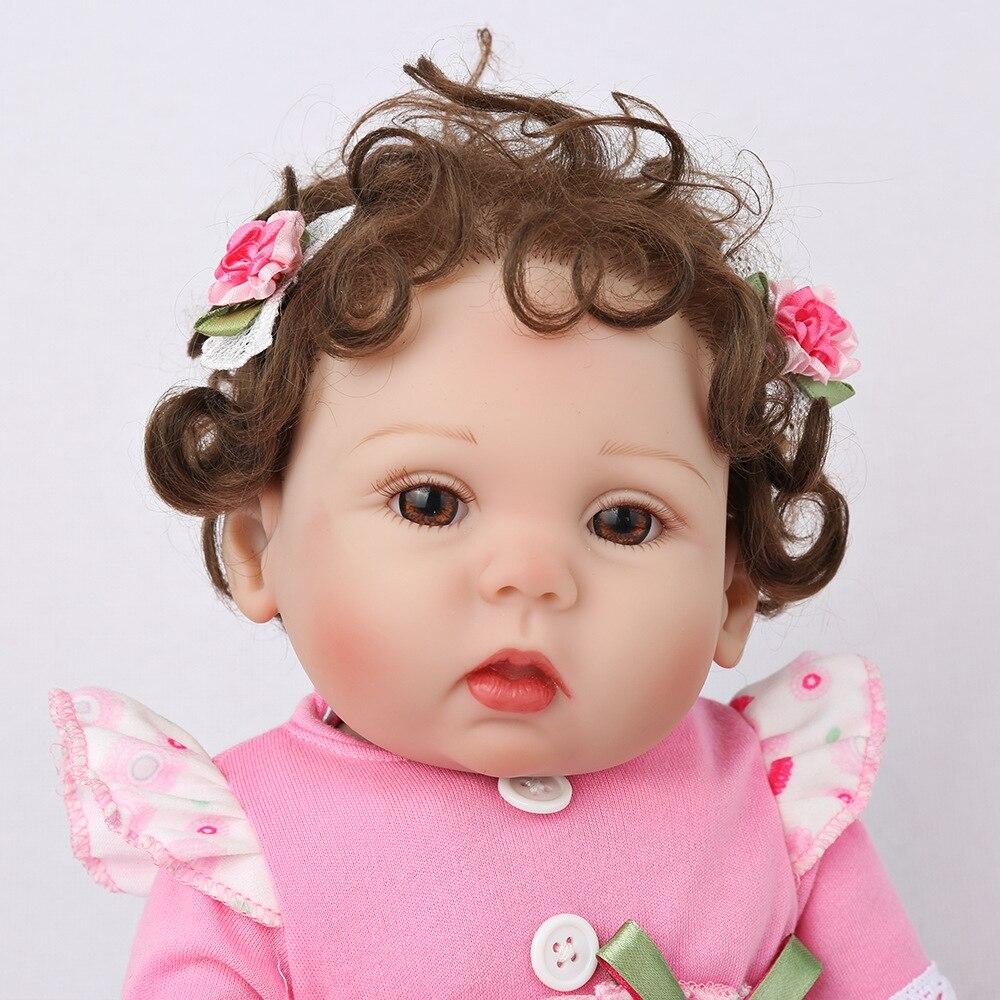 Mini 45cm 18 ''New único bebe reborn todos boneca de vinil com 1 ímã pcs chupeta linda brinquedos para o banho para as crianças sobre o presente de Natal - 4