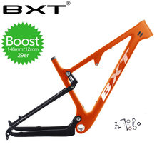 Full Carbon Suspension bike Frame 29er MTB Thru AXle 12mm Carbon Fiber Suspension BMX mountain bikes bicycle parts Free delivery(China)