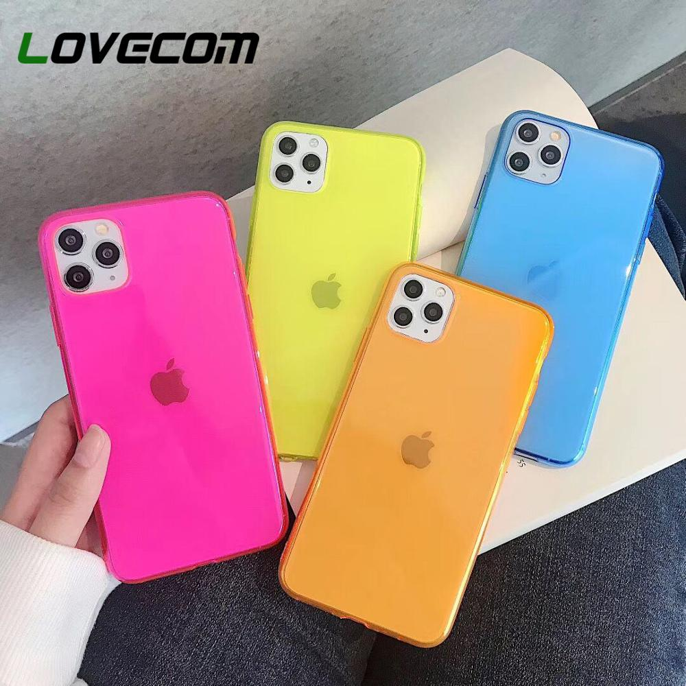 LOVECOM Cute Fluorescent Solid Color Phone Case For IPhone 11 Pro Max XR XS Max 7 8 Plus X Soft TPU Clear Back Cover Coque Gifts