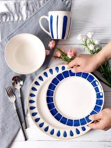 Plate-Bowl Edge-Cutlery-Set Ceramic-Plate Blue European-Style Creative Mug Round Environmental-Protection