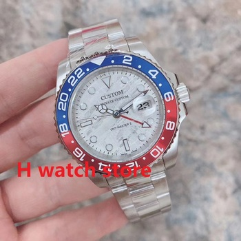 40mm watches men GMT automatic mechanical watch Men's sapphire glass Luminous Stainless steel Meteorite design dial Wristwatch parnis automatic watch 40mm deployment clasp miyota sapphire glass lume black dial mechanical watches relogio masculino gift