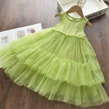 Girl Elegant Party Dress New Summer Kids Tiered Mesh  Sweet Solid Costumes Princess Suit Children Clothing 3 7Y girl elegant party dress new summer kids tiered mesh dress sweet solid costumes princess suit children clothing 3 7y