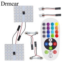 цена на T10 RGB 5050 12SMD Car Led remote control Rgb car led panel interior Auto lights Reading Dome Festoon BA9S Adapter DC 12v Light