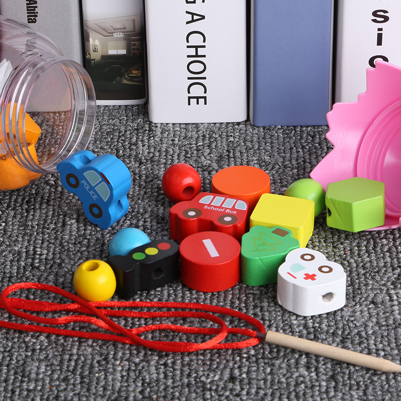 New Style Dinosaur Egg Wood With Numbers Traffic Young CHILDREN'S GIRL'S Play House DIY Handmade Wooden Bead Toy