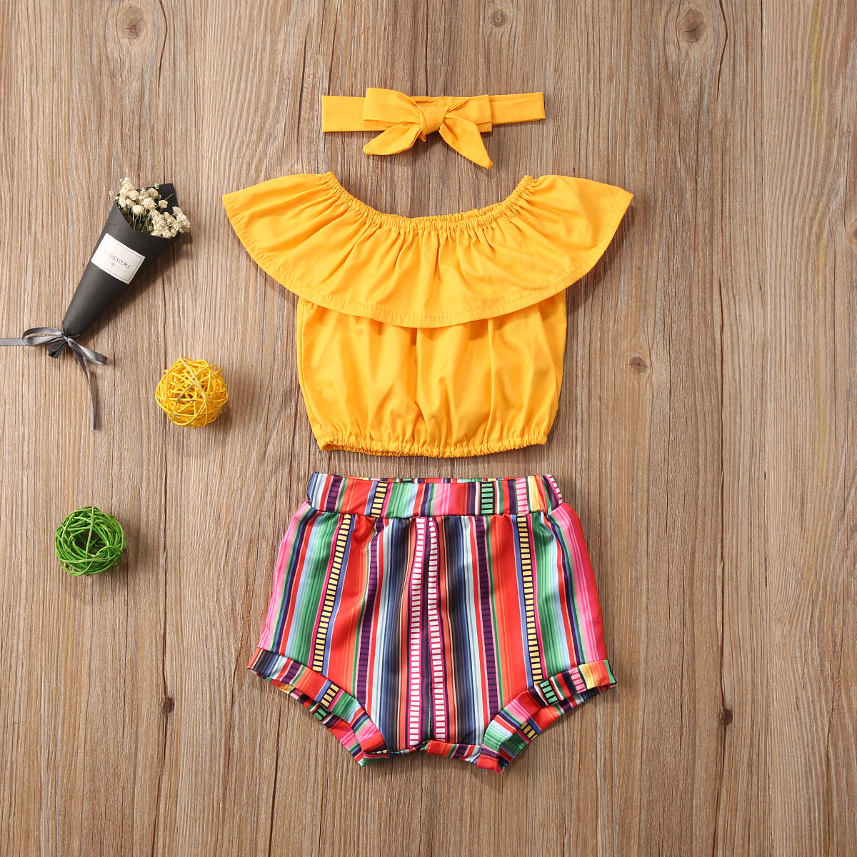 Pudcoco Toddler Baby Girl Clothes Soldi Color Off Shoudler Ruffle Tops Striped Short Pants Headband 3Pcs Outfits Sunsuit Set