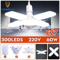 E27 Bombilla LED 220V lámpara LED 30W 45W 60W ajustable plegable ventilador hoja bombillas lámparas para iluminación del techo del hogar luces de garaje