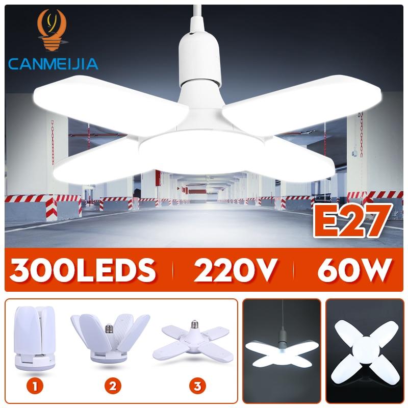 E27 Led Bulb Light 220V LED Lamp 30W 45W 60W Adjustable Angle Foldable Fan Blade Bulbs Lamps For Garage Home Ceiling Lighting