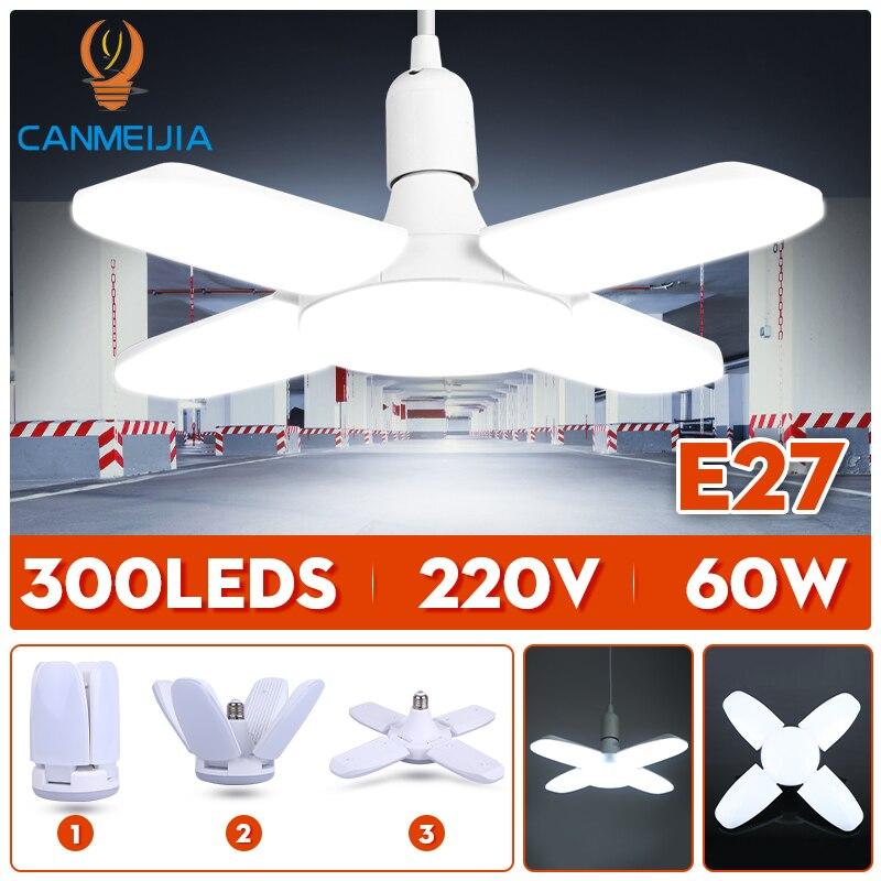 E27 Led Bulb Light 220V LED Lamp 30W 45W 60W Adjustable Foldable Fan Blade Bulbs Lamps For Home Ceiling Lighting Garage Lights