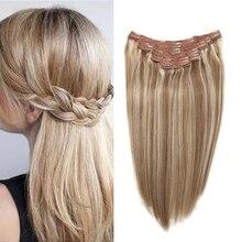 Sindra искусственные волосы одинаковой направленности прямые накладные человеческие волосы 90 г 120 г человеческих волос на зажимах в волосах#9/613 Цвет фортепиано