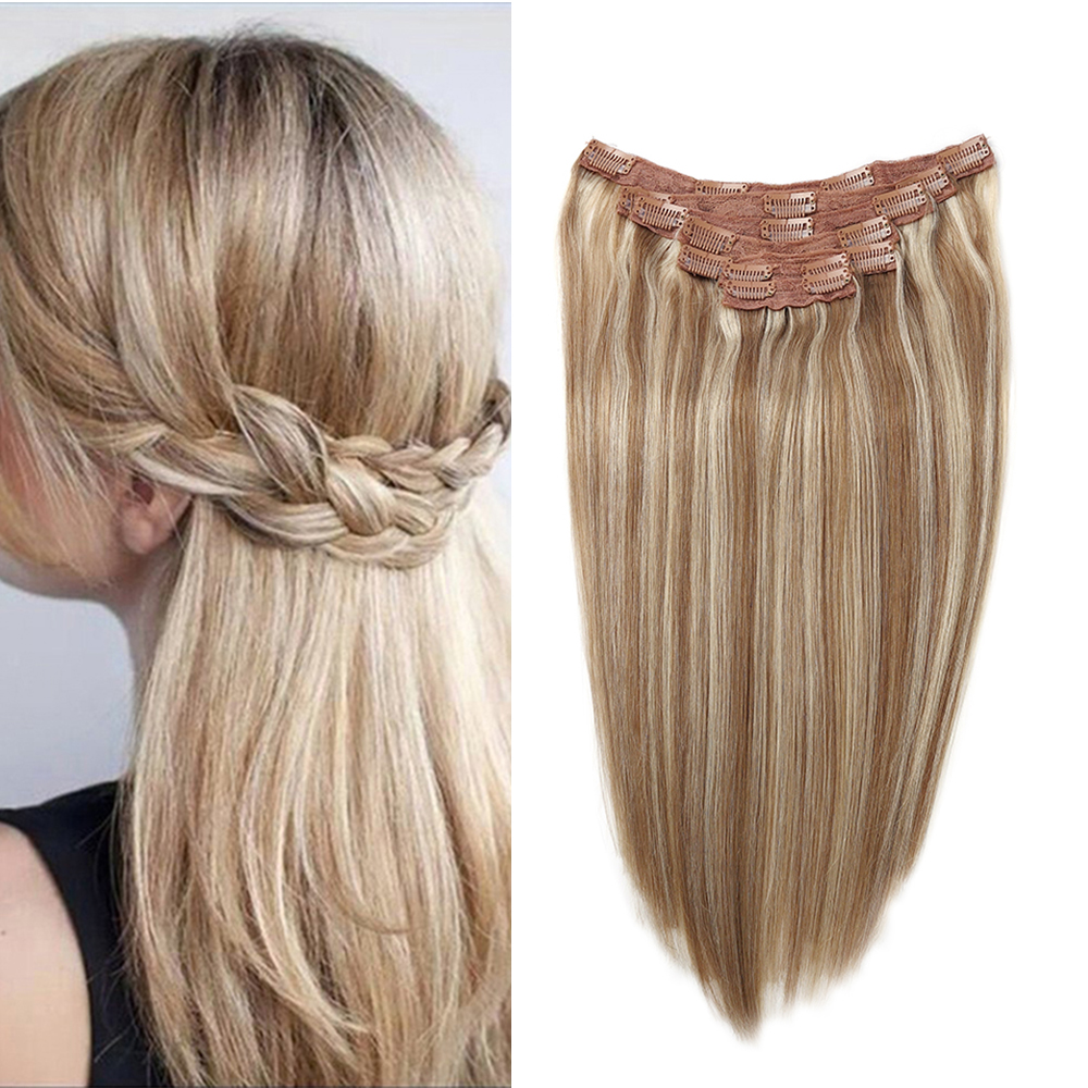 Sindra Machine Made Remy Straight Clip In Human Hair Extensions 90G 120G 100% Human Hair Clips In Hair #9/613 Piano Color