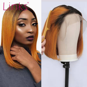 Links Bob Wigs Short Lace-Frontal Human-Hair Orange-Color Pre Plucked Remy Brazilian