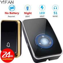 YIFAN Wireless DoorBell UK EU US plug self powered LED night light sensor Waterp