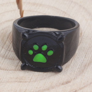 Черная собака, искусственное металлическое кольцо с зеленым когтем из сплава, модные женские милые украшения с животными|Кольца|   | АлиЭкспресс