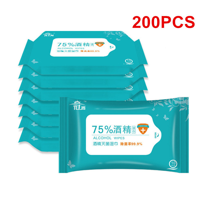 20Packs 10Pcs 75% Disposable Alcohol Disinfection Antiseptic Pads Wipes Watch Phone Cleaning Care Wet Wipes Sterilization Tool