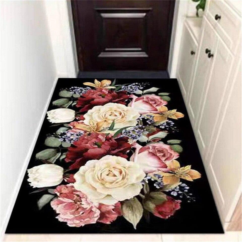 Europe Big Flower Black Carpet Classical For Living Room Hallway Carpet Entrance Door Long Rugs Kitchen Bathroom Mat