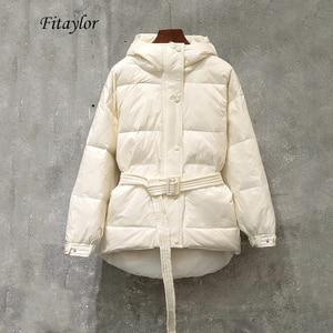Image 5 - Fitaylor冬超軽量女性ダウンジャケットウォームホワイトダックダウンフード付きパーカー女性シングルブレスト雪上着とベルト