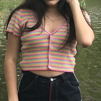 V Neck Knitted Stripe Print T Shirt Striped Women Harajuku Tshirt Streetwear Cropped Casual Summer Top Tee