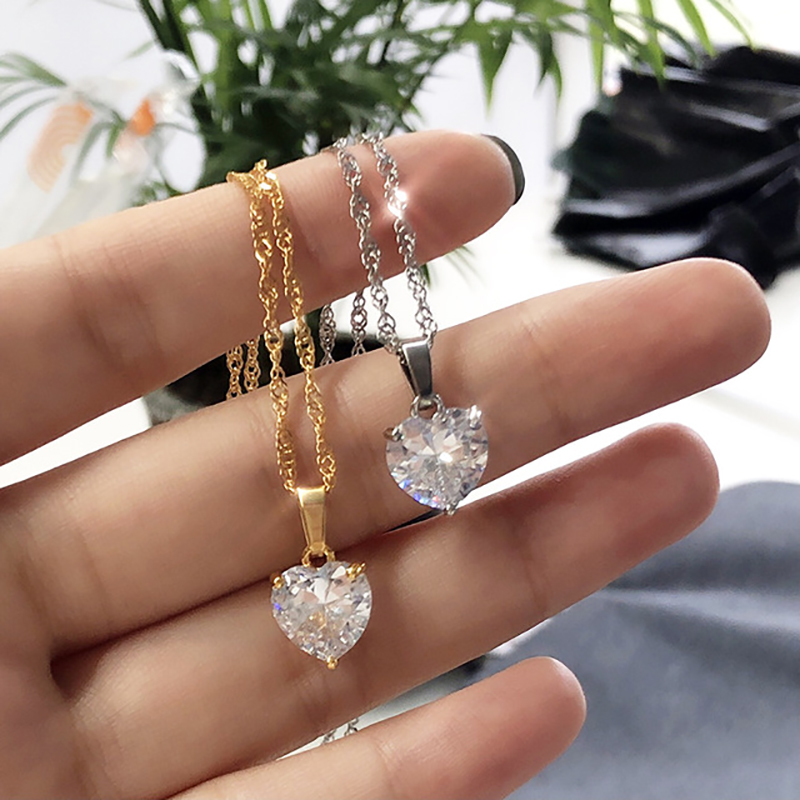 Heart Necklaces For Women Stainless Steel Gold Chain Zircon 1