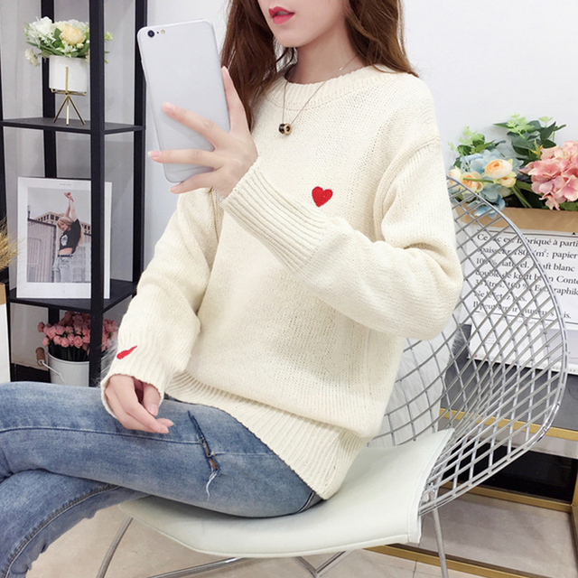 Ailegogo Autumn Winter Knitted Heart Printed Women Pullovers Sweater Casual Woolen Warm O-neck Long Sleeve Female Sweater 4