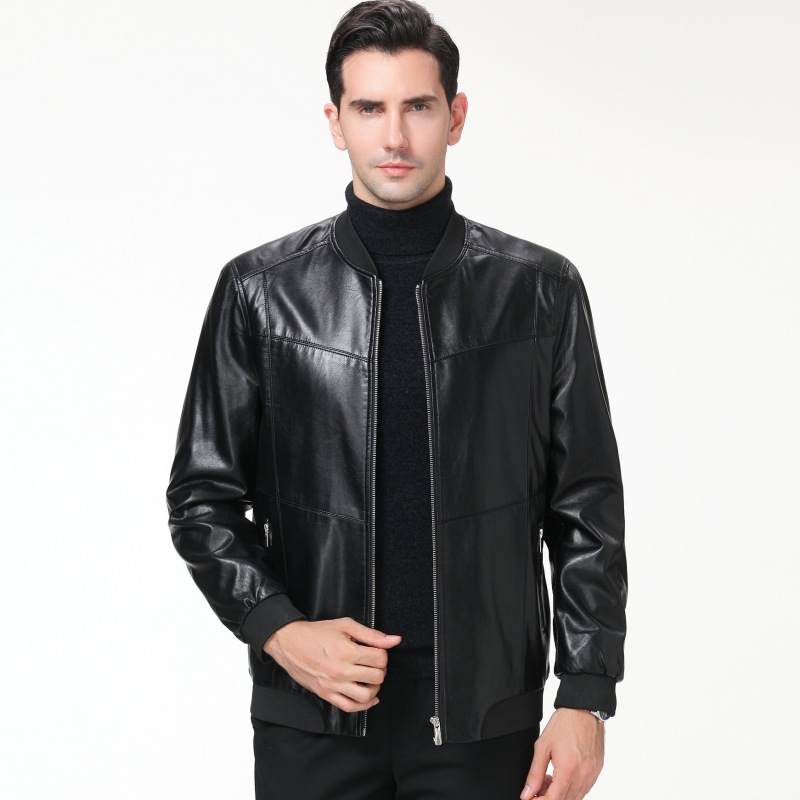 Winter Brushed And Thick Mid-length Men's Haining Leather Coat Middle-aged Men Casual Leather Jacket MEN'S Top