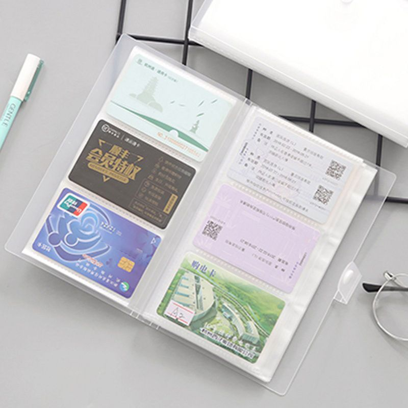 240 Slots Transparent PP Cover Business Card Book Large Capacity ID Holders Ticket Collection Clip