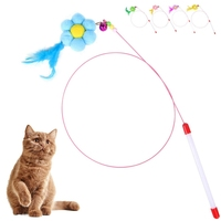Cat Feather Toy Cat Plush Flower Stick Feather Wand With Bell Cat Teaser Toy Cat Plastic Artificial Colorful Interactive Toy.