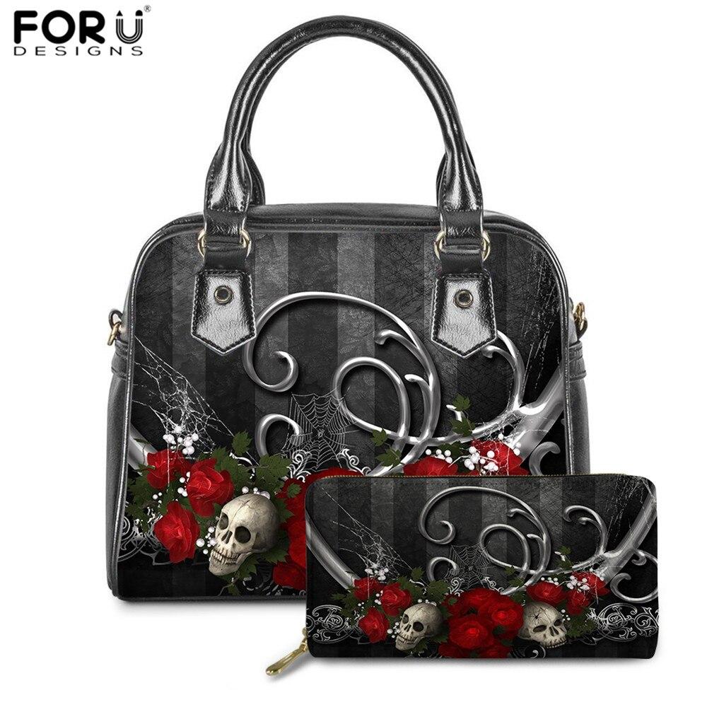 FORUDESIGNS Women PU Handbags Cool Rose Skull Print Luxury Brand Designer Ladies Shoulder Gothic Bags Purse Set Bolsa Feminina