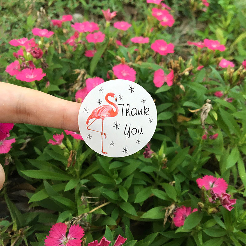 5Sheets=60Pcs Handmade Paper Stickers Thank You Adhesive Stickers Sealing Label Stickers For Gifts Girls Flamingo Stickers