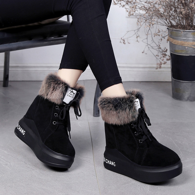 Women's Short Boot High Heel Boots Low Heels booties Shoes Bootee Woman 2019 Round Toe Australia Plush Booties Ladies Lace Up 37