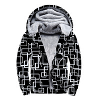 Fashion printing thickened and velvet double zipper with cap guard Blouse hoodies