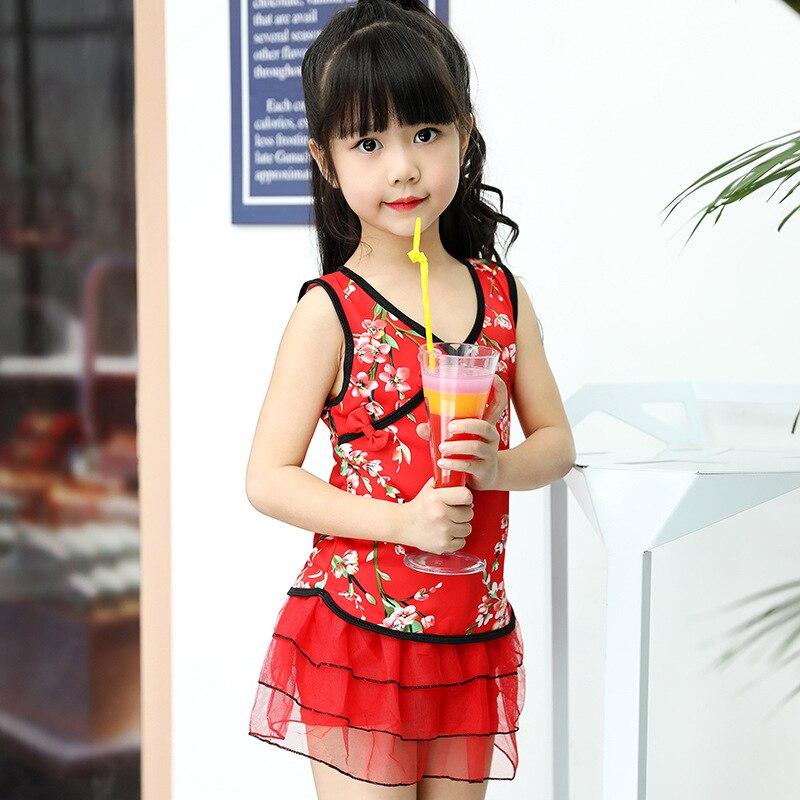 2018 New Style KID'S Swimwear Big Boy Students Sweet Cute Color Chinese-style Split Skirt Lace Forms Swimwear
