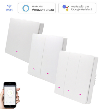 Wifi Smart Wall Switch Light Control Key button Wall Switch need Neutral wire EU Work With Alexa Google Home Smart life APP 1
