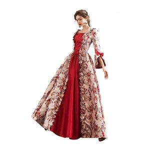 Rococo барокко Мари Антуанетта красные Бальные платья 18-го века Ренессанс история периода викторианское платье для женщин