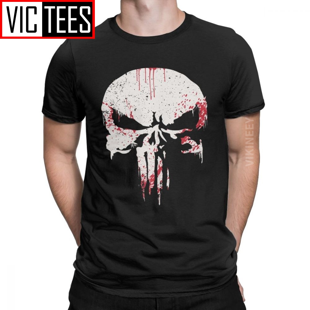 Novelty Punisher T-Shirt Men O Neck Pure Cotton T Shirt Supper Hero Fitness Streetwear Memento Mori Skull