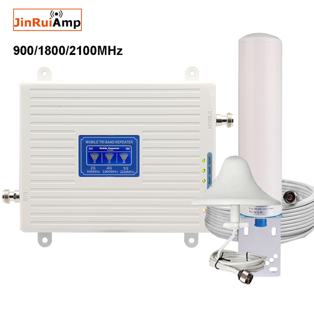 Mobile Amplifier tri band repeater 900 1800 2100 GSM repeater DCS WCDMA 2G 3G 4G repeater LTE cellular Signal Booster