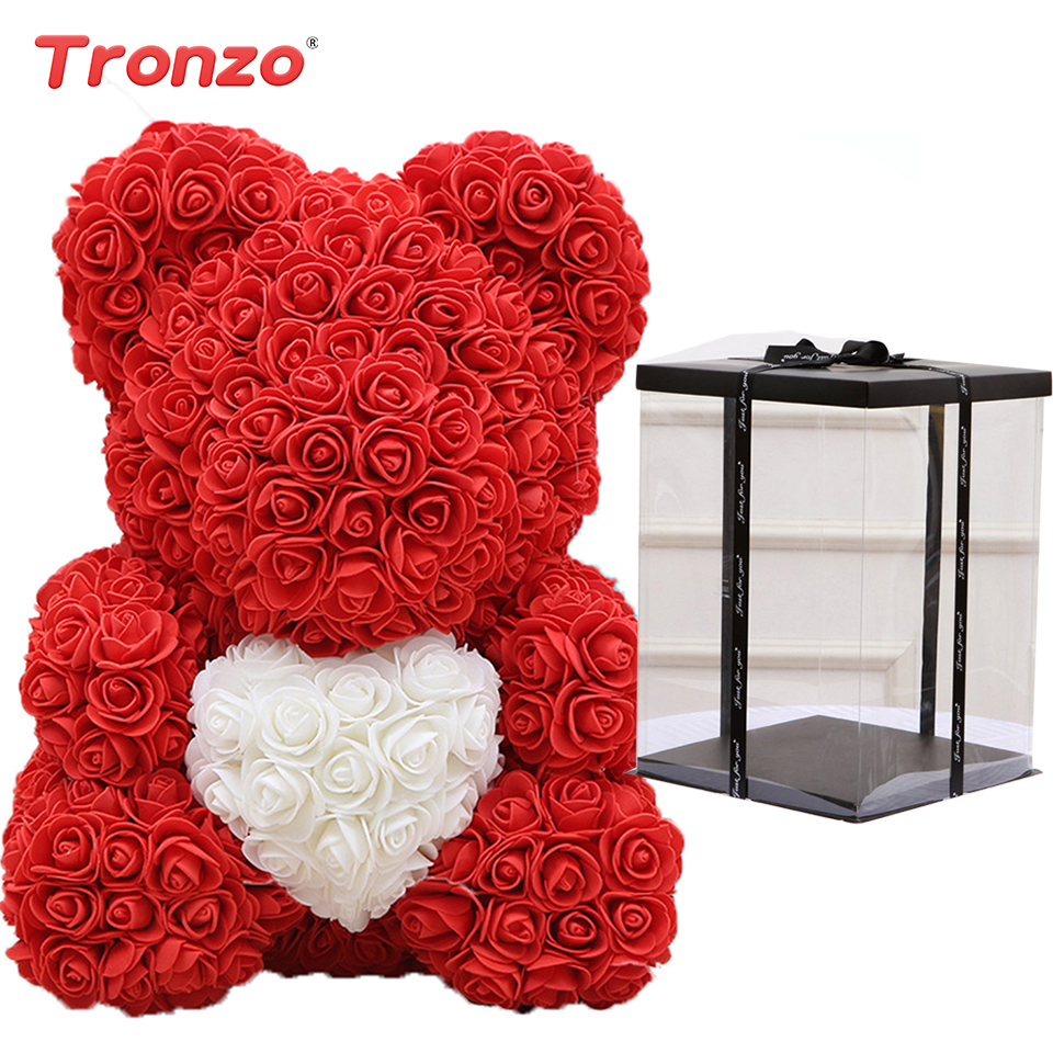DropShipping 40cm With Heart Red Teddy Bear Rose Flower Artificial Soap Flower Decoration Women Valentines Gift to Girlfriend(China)