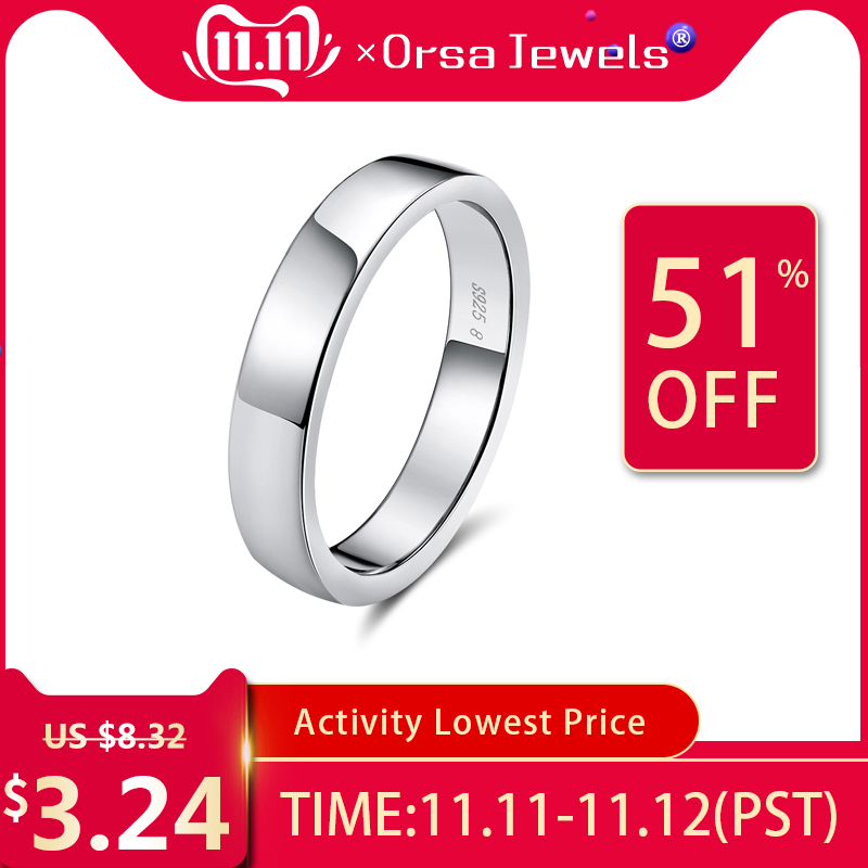 ORSA JEWELS 100% Real 925 Sterling Silver Women Rings Sample Korean Style Finger Ring Men Wedding Band Fine Jewelry Gift OSR73