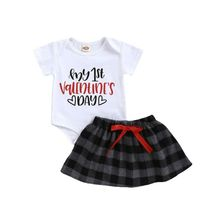 Newborn Baby Clothes Sets 2Pcs Fashion Girls MY 1st Valentine's Day Letters Bodysuit+Plaid Skirt Princess Cotton Outfit 0-18M my 1st mardi gras clown hat white top green girls baby skirt cloth outfit 3 12m