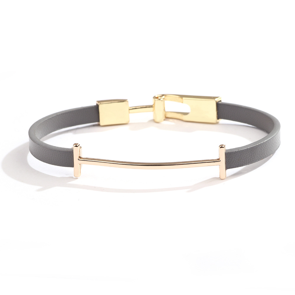 New Fashion Punk Cowhide Leather Men's Bracelet Bangles for Women Jewelry Magnetic Snap Charm Bracelet Gift(China)
