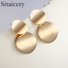 Sitaicery Unique Metal Drop Earrings Fashion Gold Color Round Statement For Women New Arrival Jewelry