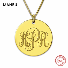 NEW Initial Monogram Necklace sterling Silver Personalized custom Nameplate Pendant for women necklaces Jewelry anniversary gift manbu personalized custom superman necklace sterling silver chain necklace for women men jewelry anniversary gift free shipping