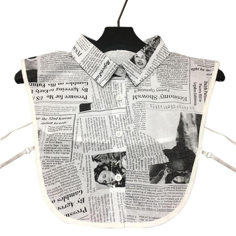 Womens Newspaper Letters Printed Lapel Half-Shirt Blouse Ladies European Vintage
