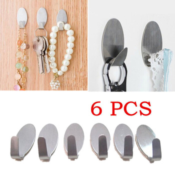 6Pcs New Coat Hat Robe Stainless Steel Wall Hanger Hocks kitchen Bathroom Set image