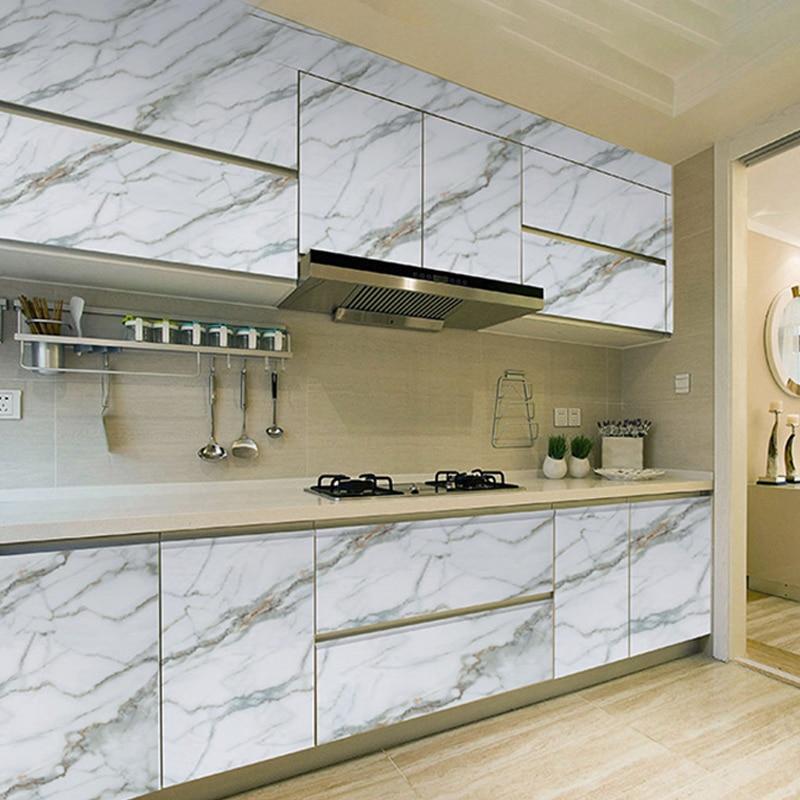 500cm White Marble WallPaper Kitchen Contact Paper Countertop Desktop Sticker Waterproof Self Adhesive Marmol Wallpaper Roll
