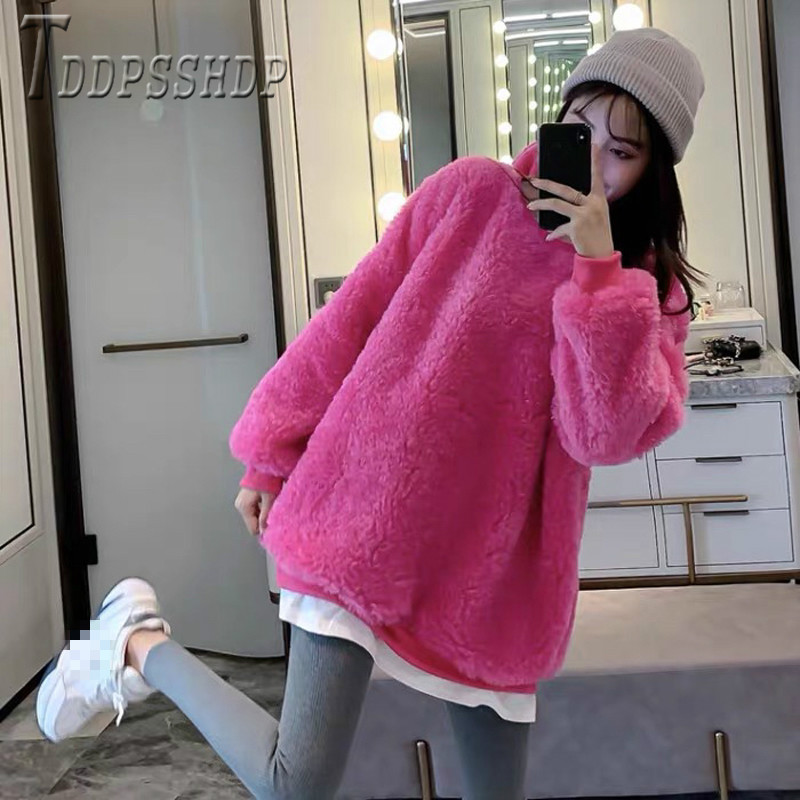 2019 Patchwork Fake Two Piece Imitation Lambswool Women Sweatshirt Casual Thick Female Sweatshirts