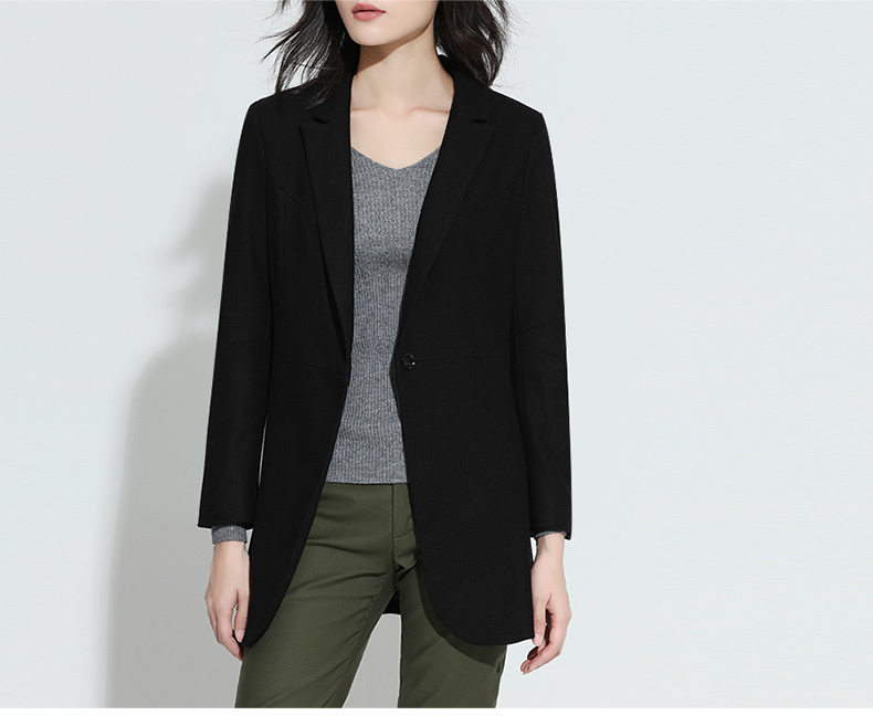 Spring New 2020 Women Blazers And Jackets Single Button Long Slim Wool Black Office Blazer Feminino High Quality LX1408