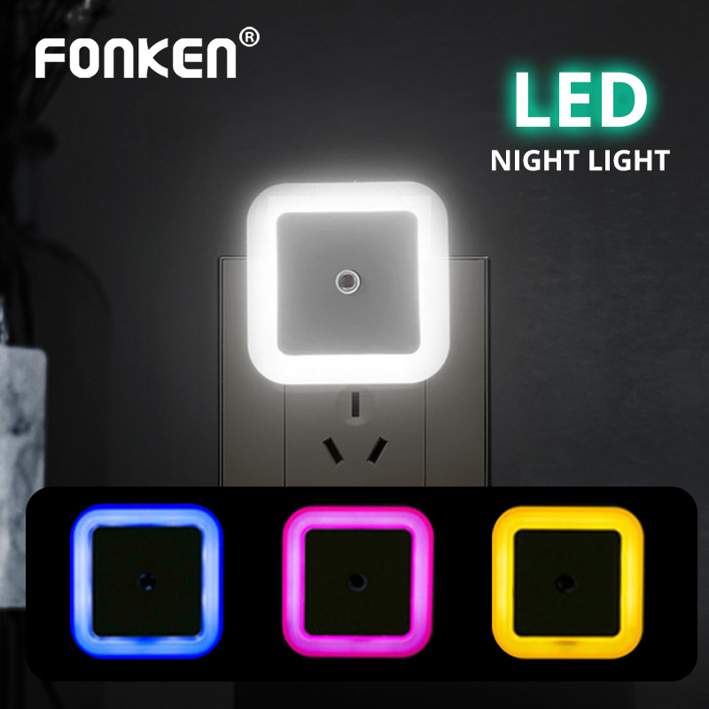 FONKEN Smart LED Night Light Smart Remote Control Light Sensor Lamp Corridor Bedroom Lighting EU US Plug Smart Children Light