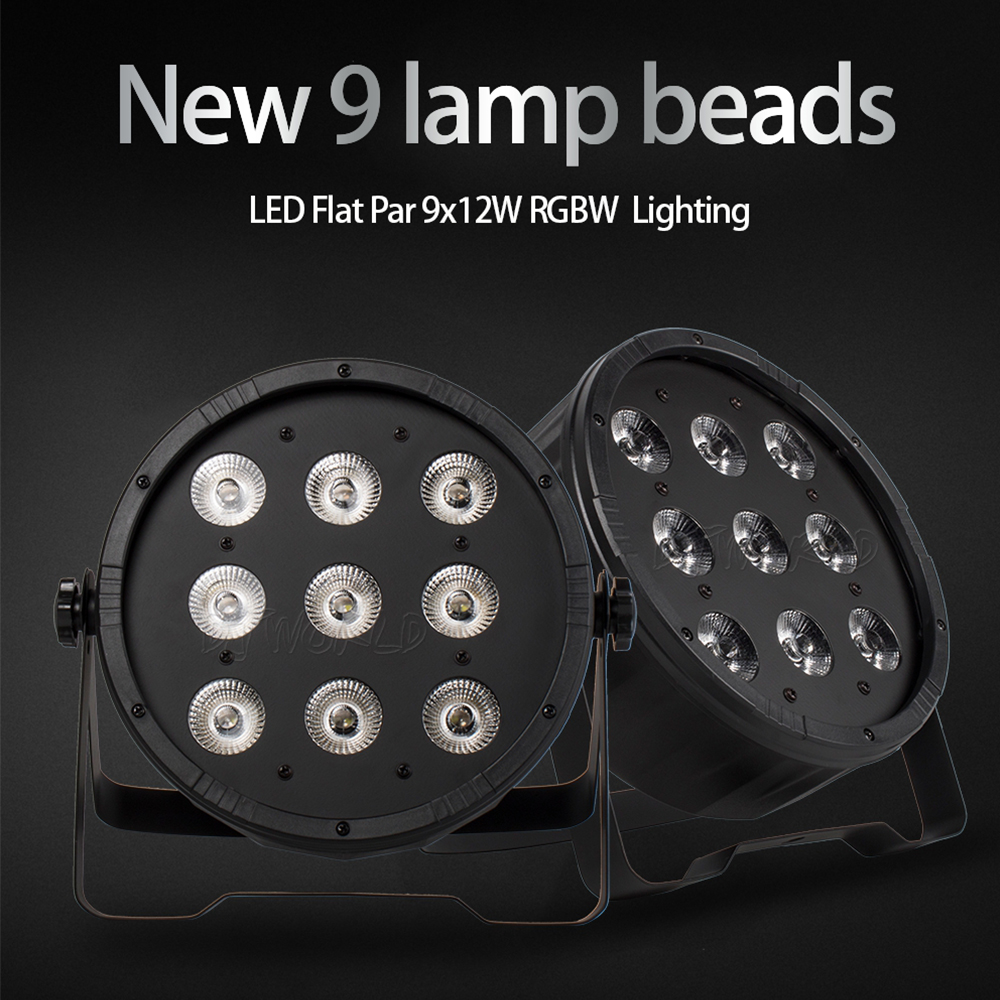 LED Flat Par 9x12W RGBW 4in1 Color Lighting DMX512 For Atmosphere Of Disco DJ Music Party Club Dance Floor BAR Darkening Effect